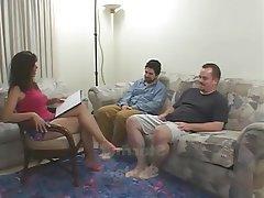Blowjob Cumshot Hairy MILF Threesome