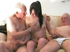 Blowjob Brunette Handjob Old and Young Threesome