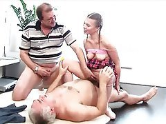 Hardcore Old and Young Threesome