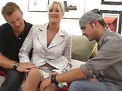 Big Boobs Blonde MILF Old and Young Threesome